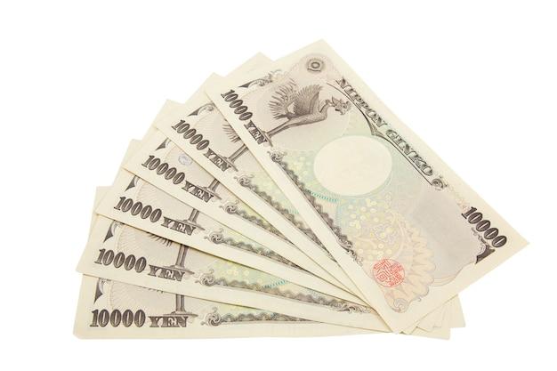 Notes de yen japonais. monnaie du japon sur fond blanc