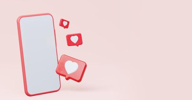 Notification d'icône 3d comme un cœur sur un téléphone portable une maquette d'un téléphone avec un écran blanc vide