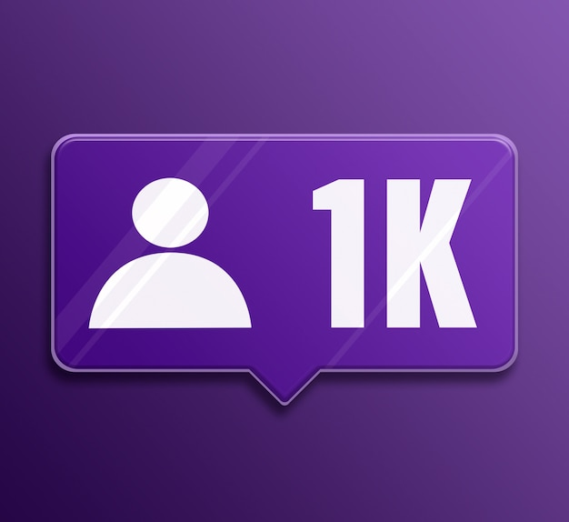 Notification de médias sociaux 1k abonnés en verre bulle de dialogue 3d