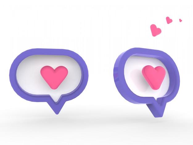 Notification de médias sociaux 3d aime comme l'icône du cœur en épingle carrée arrondie rouge isolé sur fond de mur blanc