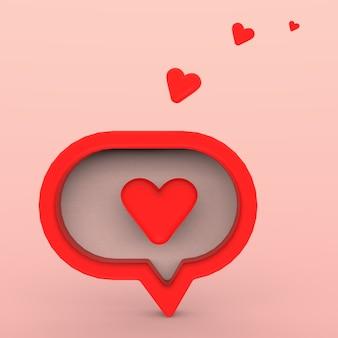 Notification de médias sociaux 3d, amour comme l'icône du cœur en épingle carrée arrondie rouge avec ombre et réflexion. rendu 3d