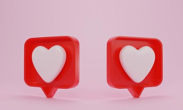 Notification de médias sociaux, icône d'amour sur rose