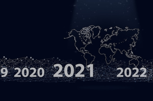 Notion 2021. carte du monde avec gologram virtuel 2021 année et ligne numérique sur fond bleu foncé