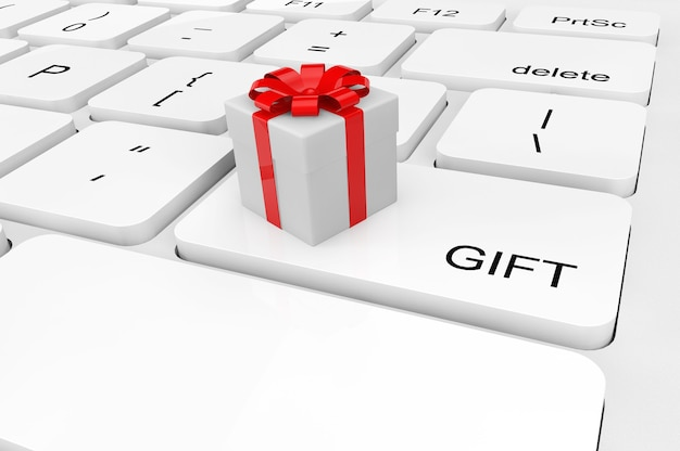 Notion de cadeau. coffret cadeau gros plan extrême sur un clavier