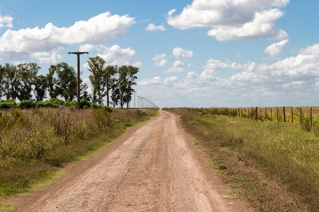 Notion de distance avec route de campagne en plaine