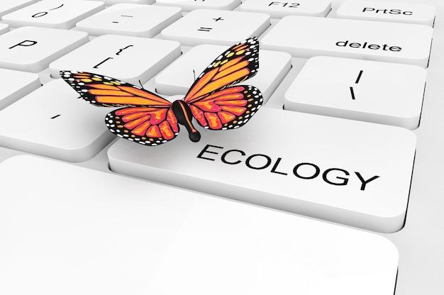 Notion d'écologie. papillon gros plan extrême sur un clavier