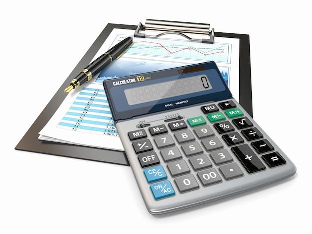 Notion financière. graphique boursier, calculatrice et stylo.