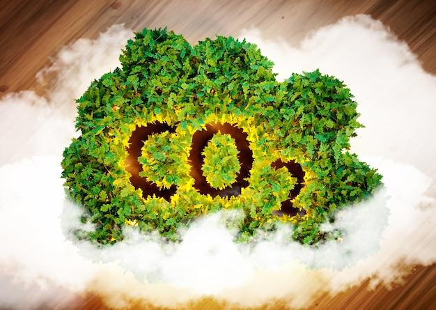 Notion de gaz à effet de serre. image générée par ordinateur 3d.