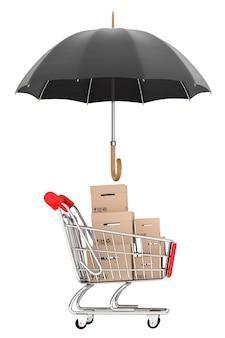 Notion de logistique. panier avec des boîtes protégées par un parapluie sur fond blanc