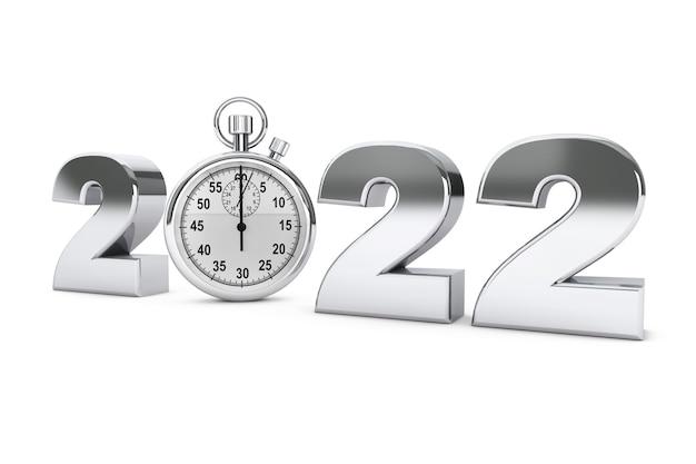 Notion de nouvel an 2022. panneau en acier 2022 avec chronomètre sur fond blanc. rendu 3d