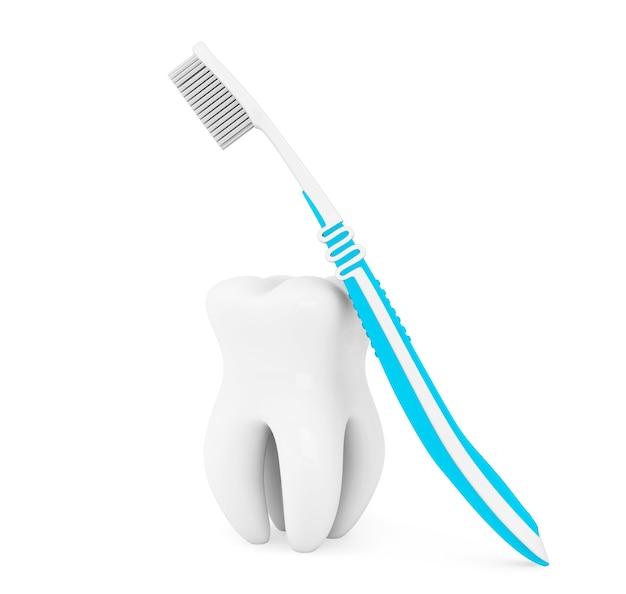 Notion de stomatologie. brosse à dents et dent sur fond blanc