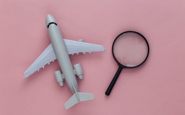 Notion de voyage. avion et loupe sur rose