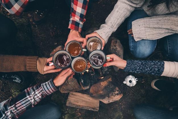 A notre amitié ! gros plan sur la vue de dessus des jeunes qui se grillent tout en se réchauffant près du feu de camp dans les bois