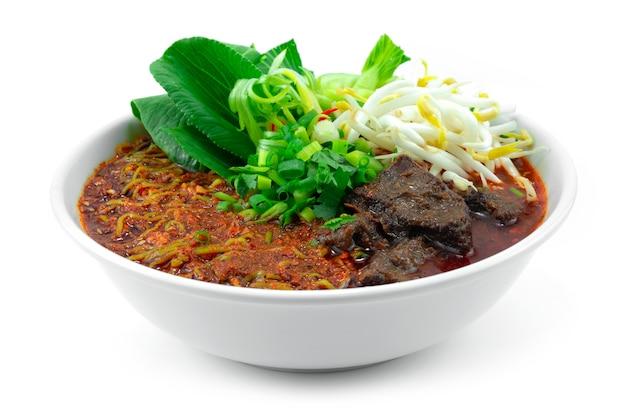 Nouilles de jade soupe piquante au chili épicé avec du boeuf braisé cuisine chinoise style sichuan légumes décoration sideview