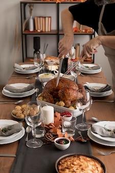 Nourriture à angle élevé pour le jour de thanksgiving