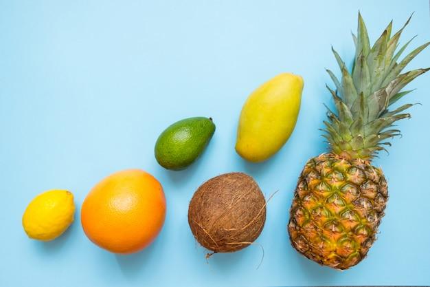 Nourriture d'été: noix de coco, ananas, mangue, pamplemousse, citron, avocat