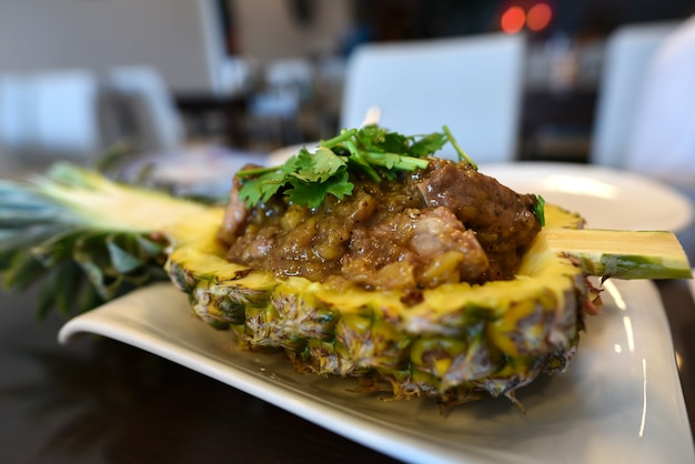 Nourriture, filet de porc à l'ananas.