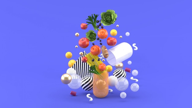 La nourriture flotte hors de la capsule au milieu de boules colorées sur le violet. rendu 3d