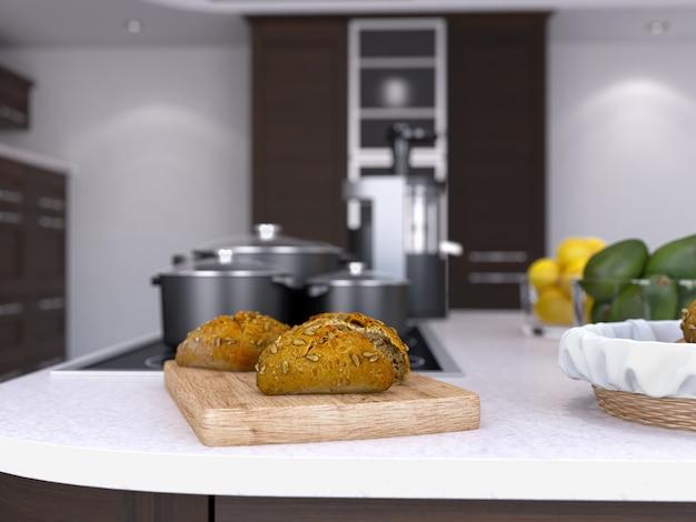 Nourriture et fruits sur le dessus de la table de cuisine