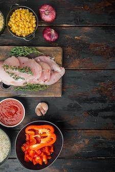 Nourriture mexicaine. cuisine d'amérique du sud. ingrédients traditionnels, sur fond de table en bois sombre, vue de dessus à plat avec espace de copie pour le texte