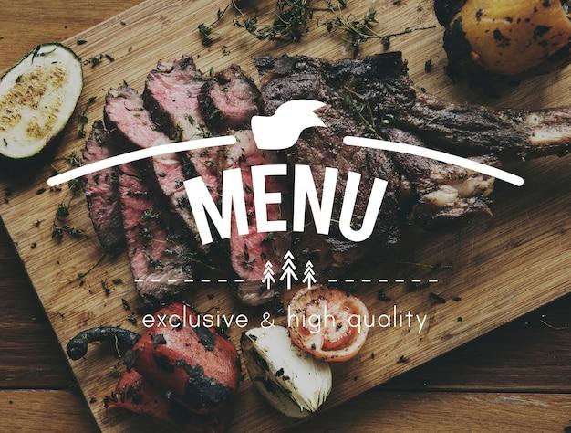 Nourriture, mots, steak, appétit, repas
