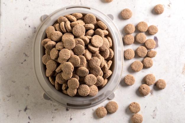 Nourriture pour animaux de compagnie sur le sol