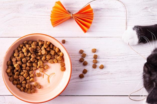 Nourriture pour chats dans un bol rond sur un fond en bois blanc se bouchent
