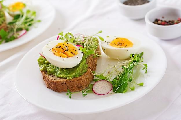 Nourriture saine. petit déjeuner. sandwich aux œufs d'avocat avec du pain de grains entiers sur une table en bois blanc.