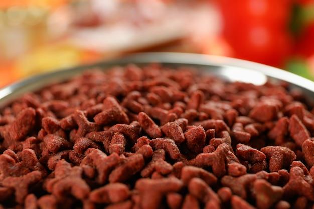 Nourriture savoureuse pour animaux de compagnie, nourriture en gros plan et sélective