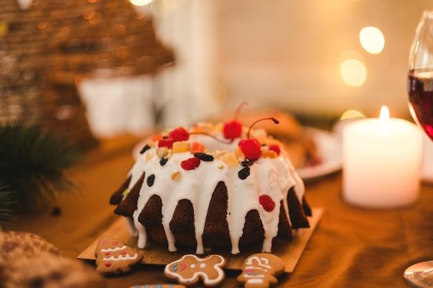 Nourriture sucrée de noël. gâteau de vacances.