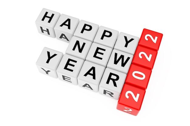 Nouveau concept de l'année 2022. bonne année 2022 signe comme blocs de mots croisés sur fond blanc. rendu 3d.