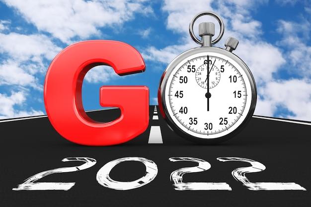 Nouveau concept de l'année 2022. chronomètre comme go sign sur 2022 new year road sur un fond de ciel bleu. rendu 3d
