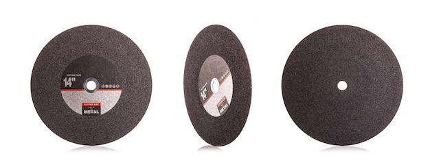 Nouveau disque de coupe noir 14 pouces pour le métal isolé sur blanc