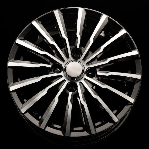 Nouveau disque moulé sous pression de roue en alliage d'aluminium noir close up