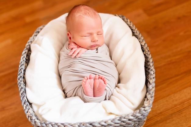 Nouveau-né endormi dans le panier gris