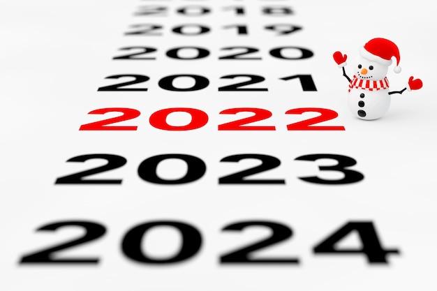 Nouveau signe de l'année 2022 avec bonhomme de neige sur fond blanc. rendu 3d