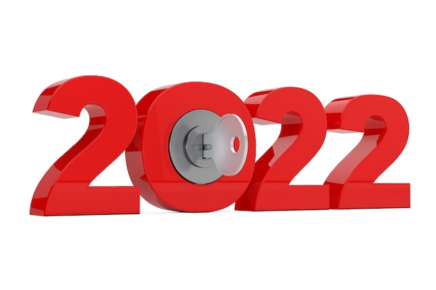 Nouveau signe de l'année 2022 avec clé sur fond blanc. rendu 3d