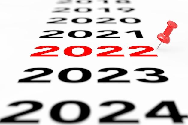 Nouveau signe de l'année 2022 avec marqueur pin rouge sur fond blanc. rendu 3d