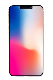 Nouveau smartphone isolé sur fond blanc.