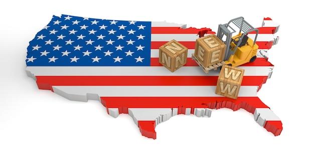 Nouveau texte de bloc en bois de la carte du drapeau des états-unis. rendu 3d