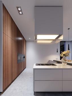 Nouveaux appareils de cuisine dans une cuisine moderne, hotte suspendue et nouvelle surface de cuisson. rendu 3d.