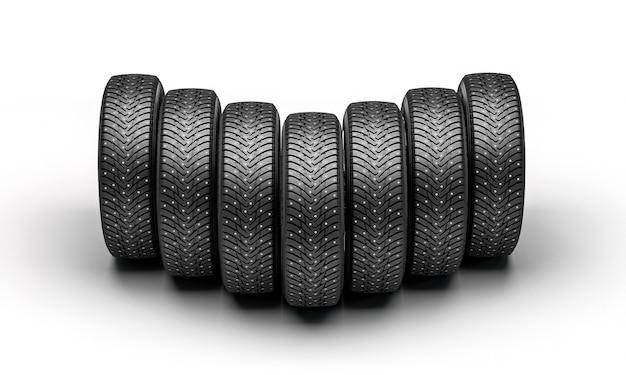 Nouveaux pneus de voiture d'hiver sur fond blanc. rendu 3d.