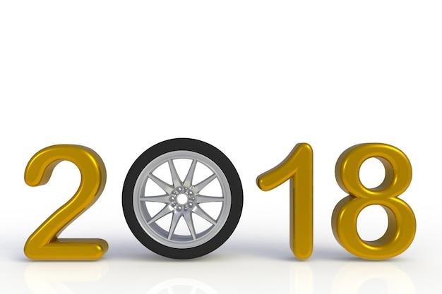 Nouvel an 2018 avec la roue de la voiture, numéro de l'année jaune isolé sur fond blanc