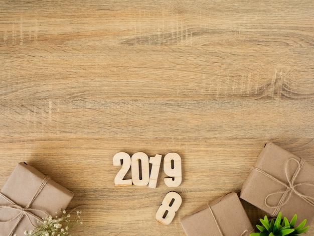 Nouvel an 2019 design de bordure de boîtes-cadeaux