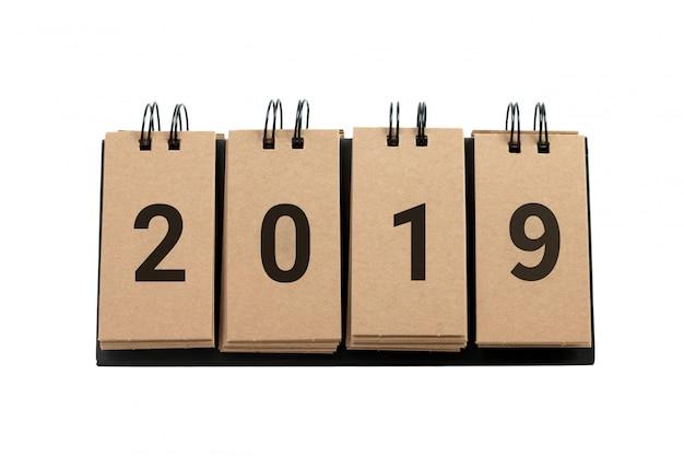 Nouvel an 2019 isolé sur fond blanc.