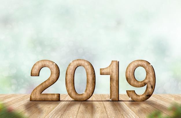 Nouvel an 2019 (rendu 3d) sur la table de la planche de bois au flou abstrait bokeh vert