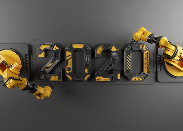Nouvel an 2020 en alphabet robot