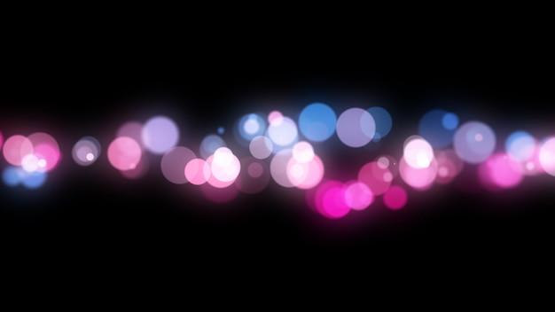 Nouvel an 2020. fond de bokeh. résumé des lumières. joyeux noël en toile de fond. lumière scintillante. particules défocalisées. couleurs violettes et roses. isolé sur fond noir