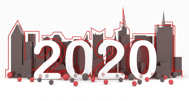 Nouvel an 2020 à new york city background 3d rendering