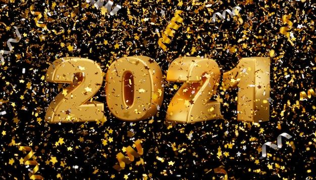 Nouvel an 2021 et confettis en aluminium tombant sur fond noir rendu 3d
